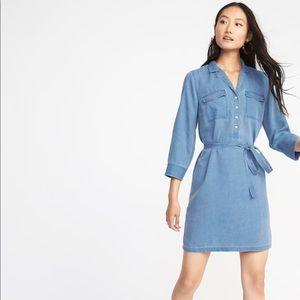 BLUE Tie-Belt Shirt Dress